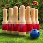 "Outdoor 11"" Wooden Lawn Bowling Set Kids Family Grass Play"