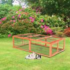 """Pawhut 46"""" Wooden Outdoor Rabbit Hutch Small Animal Cage"""