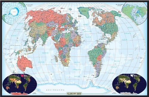 Map of the world laminated 24x36 map of the world laminated 24x36 30x42 world decorator wall map laminated publicscrutiny Gallery