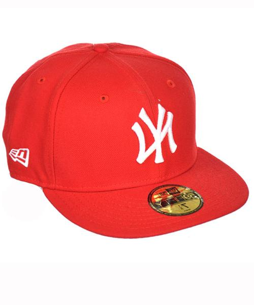 New Era Yankees Wool Baseball Cap  - red/white, 7 1/8 - 56.