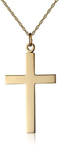 Men's 14k Yellow Gold Solid Polished Cross Necklace with Embossed Lord's Prayer Pendant, 20