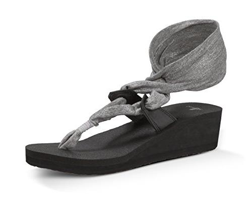 Sanuk Womens Yoga Slinglet Wedge Metallic Sandals Silver 5