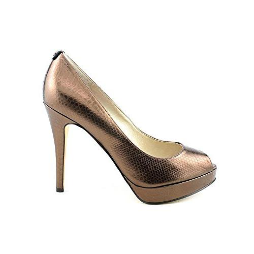 MICHAEL KORS YORK PLATFORM COCOA BRONZE OPEN TOE PUMP WOMEN