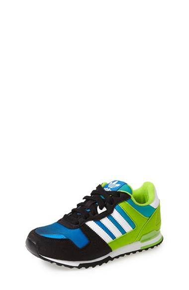 Boy's adidas 'ZX 700' Sneaker Black/ White/ Semi Solar Green